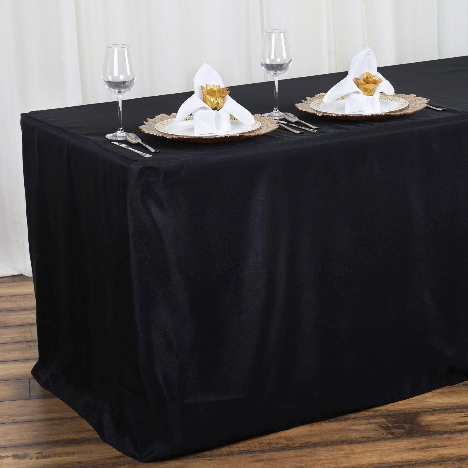 ... 4FT Fitted BLACK Wholesale Polyester Table Cover Wedding Banquet Event  Tablecloth ...