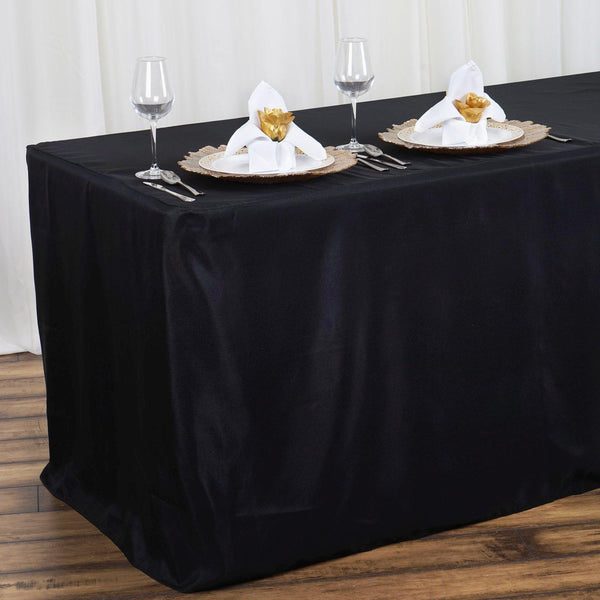 4FT Black Fitted Polyester Rectangular Table Cover