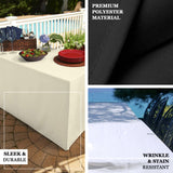 4FT Ivory Fitted Polyester Rectangular Table Cover