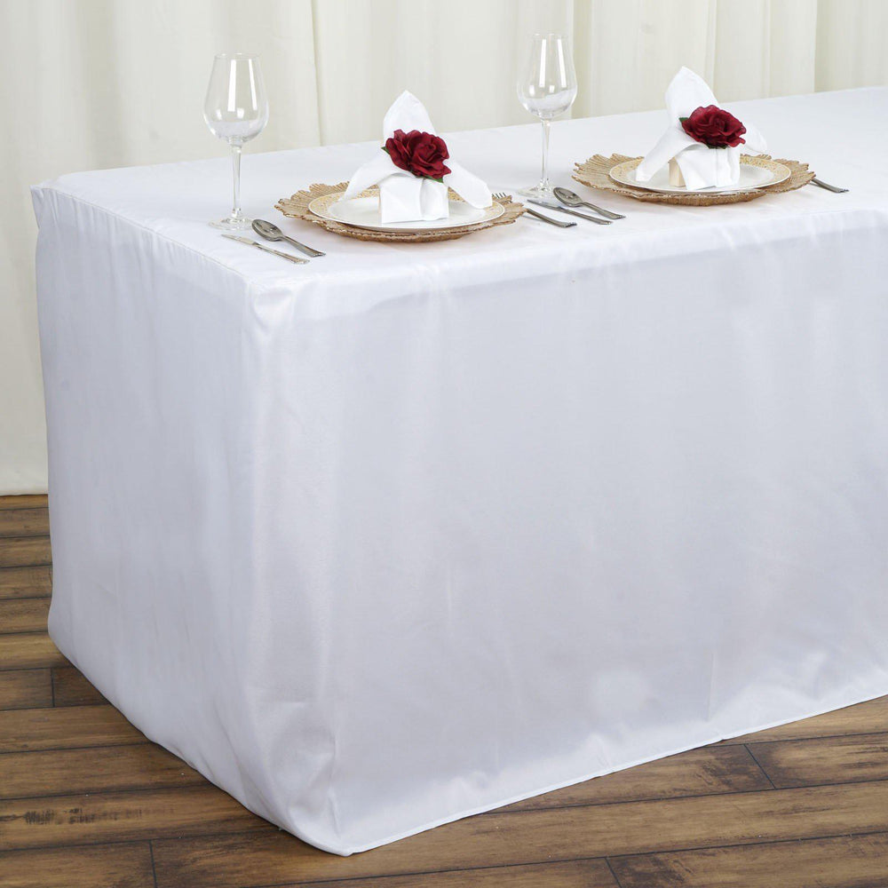 Genial 4FT Fitted WHITE Wholesale Polyester Table Cover Wedding Banquet Event  Tablecloth ...