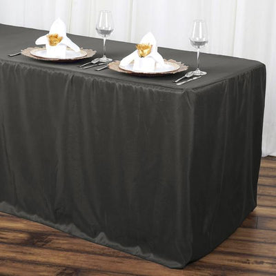 8FT CharcoalGrey Fitted Polyester Rectangular Table Cover