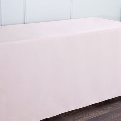 6FT Fitted Polyester Rectangular Table Cover - Rose Gold | Blush