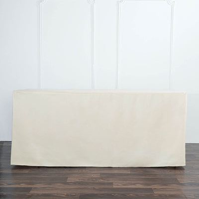 6FT Beige Fitted Polyester Rectangular Table Cover