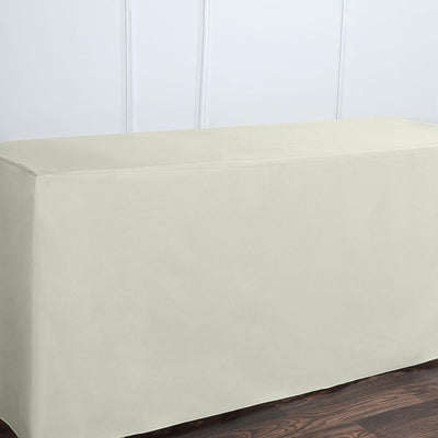 6FT Ivory Fitted Polyester Rectangular Table Cover