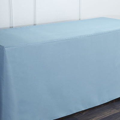 6FT Dusty Blue Fitted Polyester Rectangular Table Cover