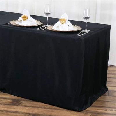 6FT Black Fitted Polyester Rectangular Table Cover
