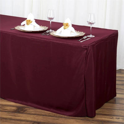 6FT Burgundy Fitted Polyester Rectangular Table Cover