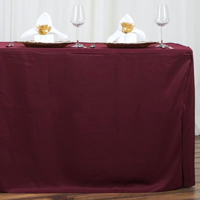 6FT Fitted BURGUNDY Wholesale Polyester Table Cover Wedding Banquet Event Tablecloth