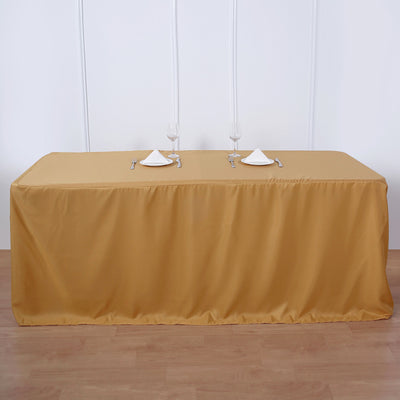 6FT Gold Fitted Polyester Rectangular Table Cover