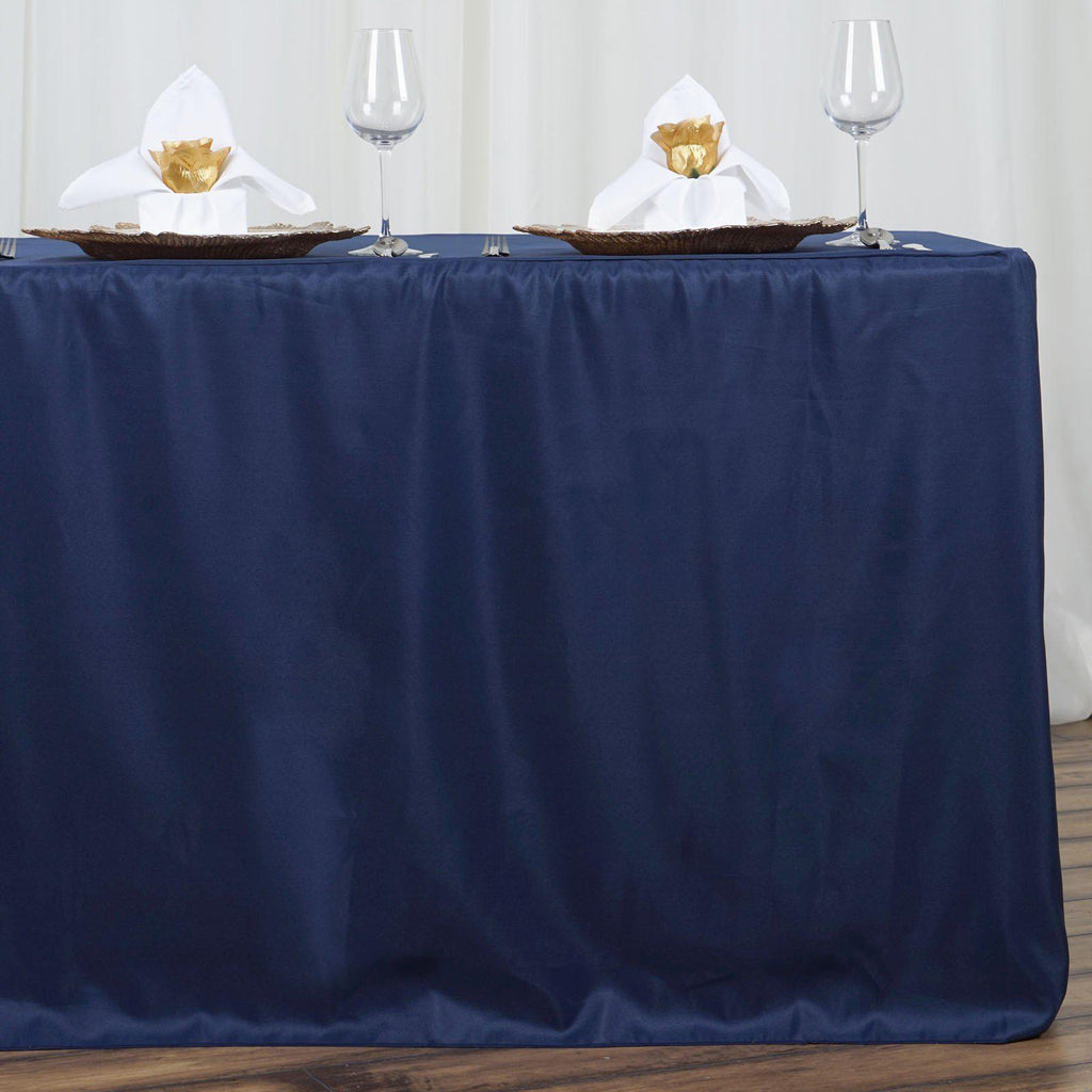 6ft Fitted Navy Blue Wholesale Polyester Table Cover