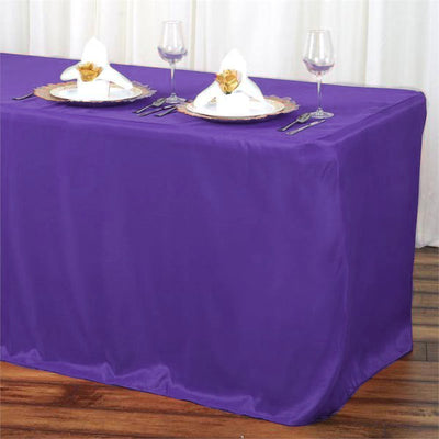 6FT Purple Fitted Polyester Rectangular Table Cover