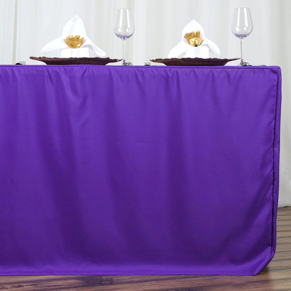 6FT Fitted PURPLE Wholesale Polyester Table Cover Wedding Banquet Event  Tablecloth ...