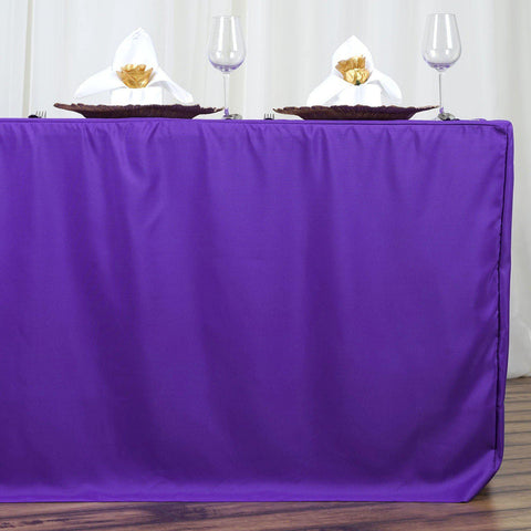Superieur 6FT Fitted PURPLE Wholesale Polyester Table Cover Wedding Banquet Event  Tablecloth
