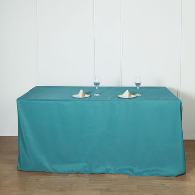 6FT Teal Fitted Polyester Rectangular Table Cover