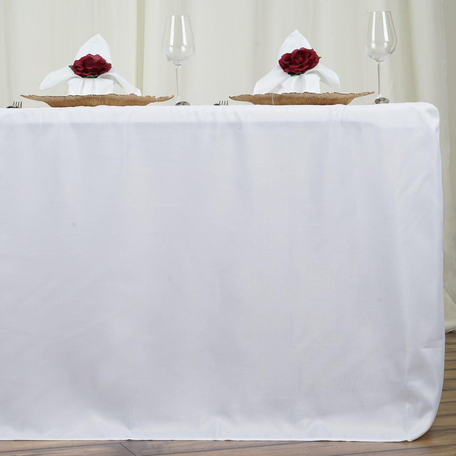 6ft Fitted White Wholesale Polyester Table Cover Wedding