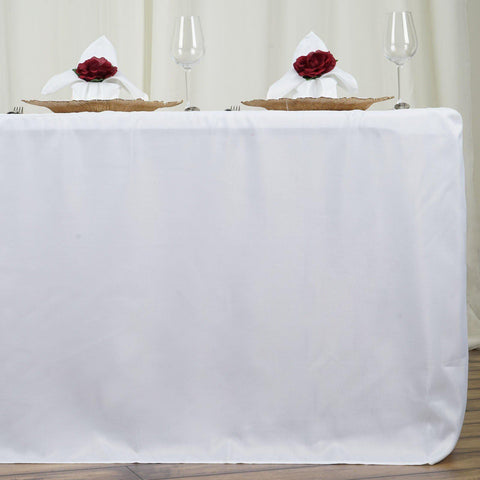 Attirant 6FT Fitted WHITE Wholesale Polyester Table Cover Wedding Banquet Event  Tablecloth