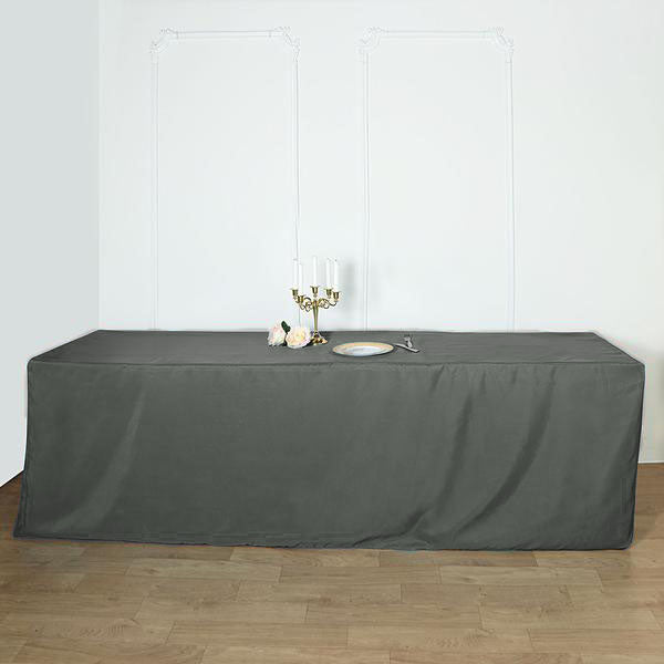 8FT Charcoal Gray Fitted Polyester Rectangular Table Cover