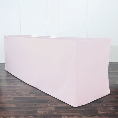 8FT Fitted Polyester Rectangular Table Cover - Rose Gold | Blush