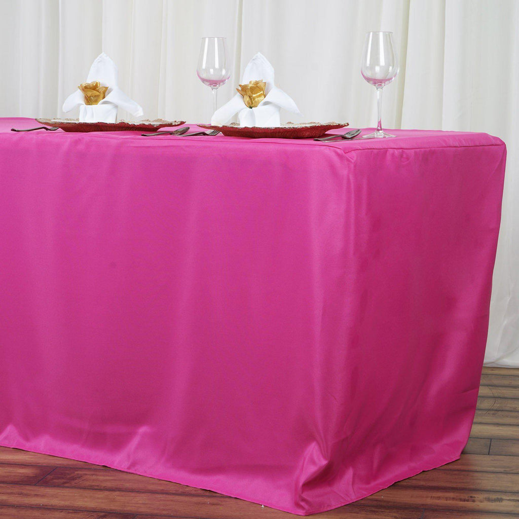 8ft Fitted Fushia Wholesale Polyester Table Cover Wedding