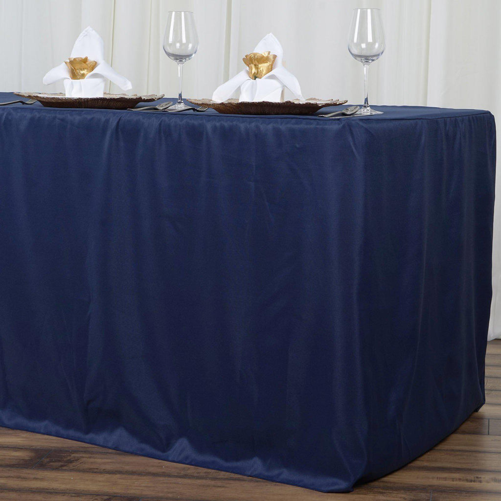 8ft Fitted Navy Blue Wholesale Polyester Table Cover