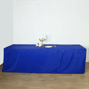 8FT Royal Blue Fitted Polyester Rectangular Table Cover