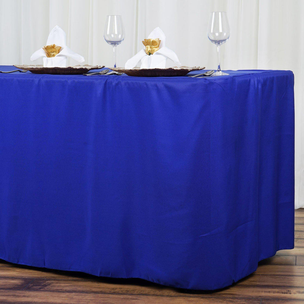 8ft Fitted Royal Blue Wholesale Polyester Table Cover