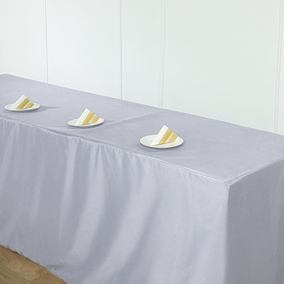 8FT Silver Fitted Polyester Rectangular Table Cover
