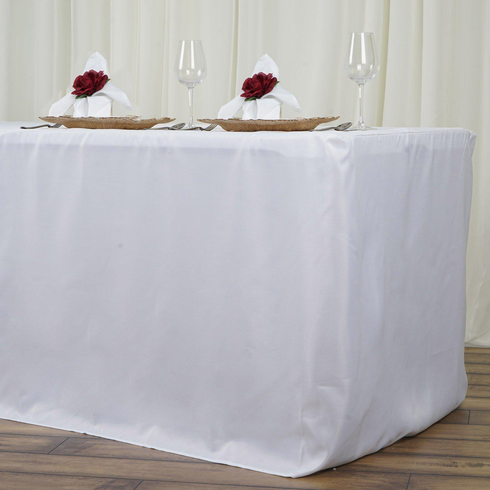8ft Fitted White Wholesale Polyester Table Cover Wedding
