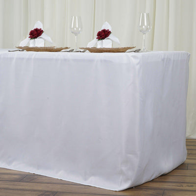 8FT Fitted WHITE Wholesale Polyester Table Cover Wedding Banquet Event Tablecloth