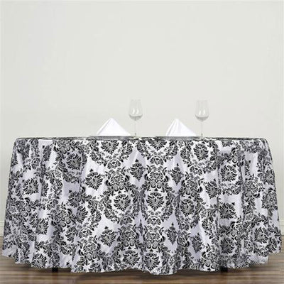 "120"" Black Round Flocking Damask Tablecloth"