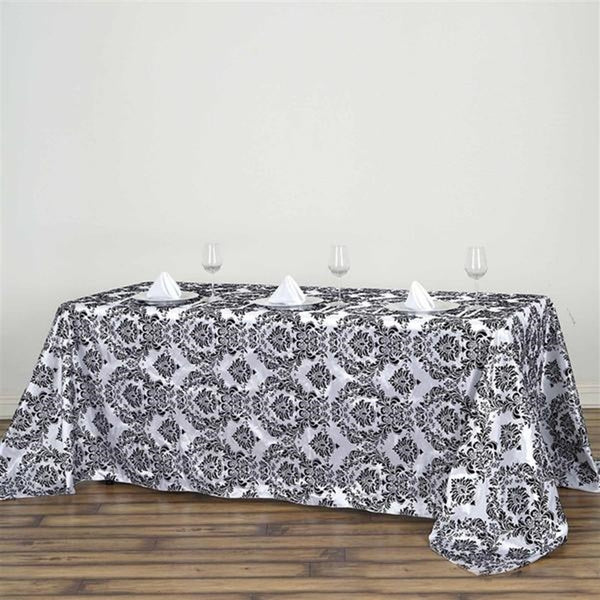 "90""x132"" Black Rectangle Flocking Damask Tablecloth"