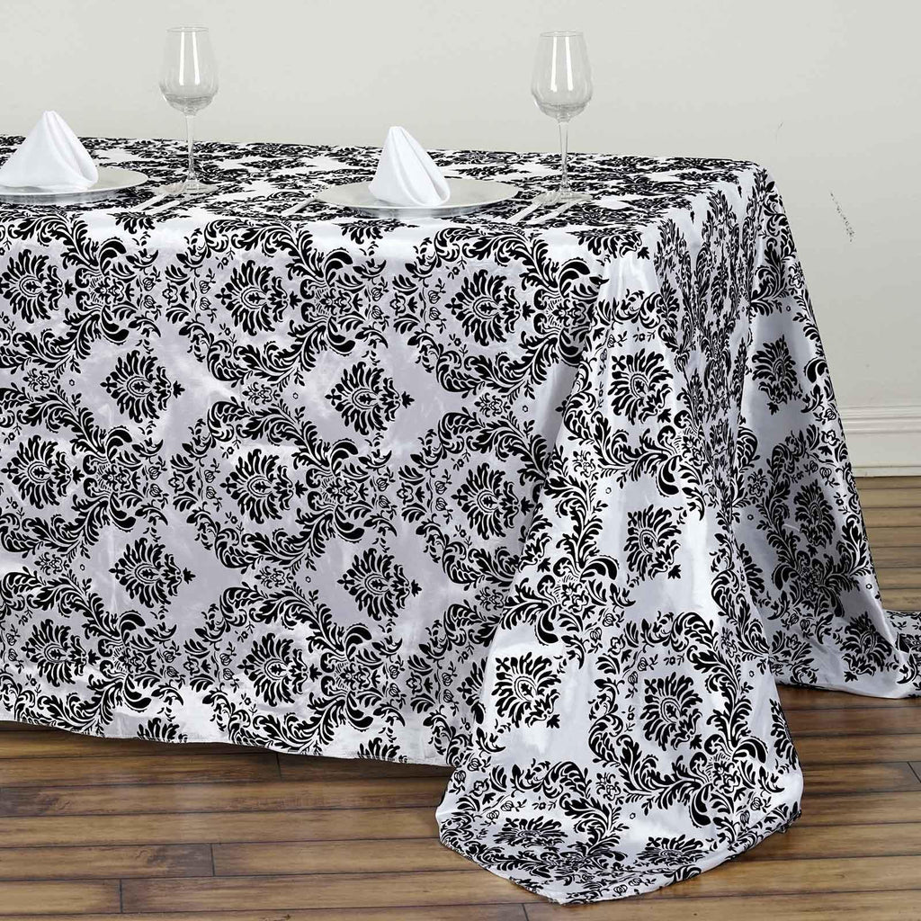 90x132 Quot Black Rectangle Flocking Damask Tablecloth