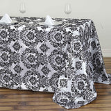 90 inch x132 inch Black Rectangle Flocking Damask Tablecloth
