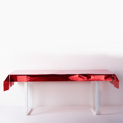 40x90 Inch | Red Metallic Foil Rectangle Tablecloth, Disposable Table Cover