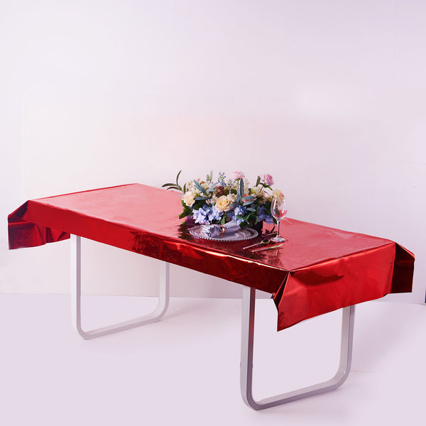 "40""x90"" Red Metallic Foil Rectangle Tablecloth, Disposable Table Cover"