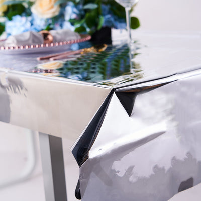 40x90 Inch | Silver Metallic Foil Rectangle Tablecloth, Disposable Table Cover#whtbkgd