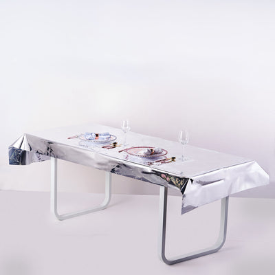 40x90 Inch | Silver Metallic Foil Rectangle Tablecloth, Disposable Table Cover