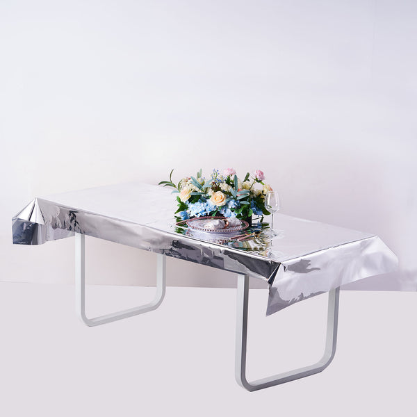 "40""x90"" Silver Metallic Foil Rectangle Tablecloth, Disposable Table Cover"