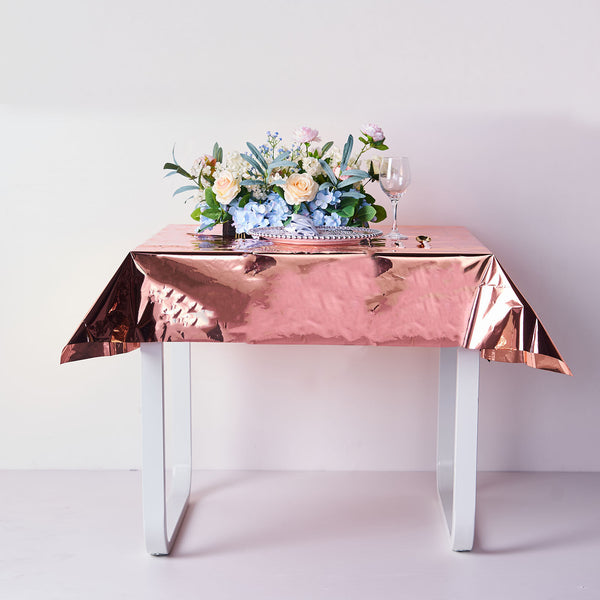 "50""x50"" Metallic Foil Square Tablecloth, Disposable Table Cover - Rose Gold 