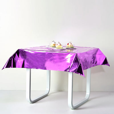 Purple Metallic Foil Square Tablecloth, Disposable Table Cover