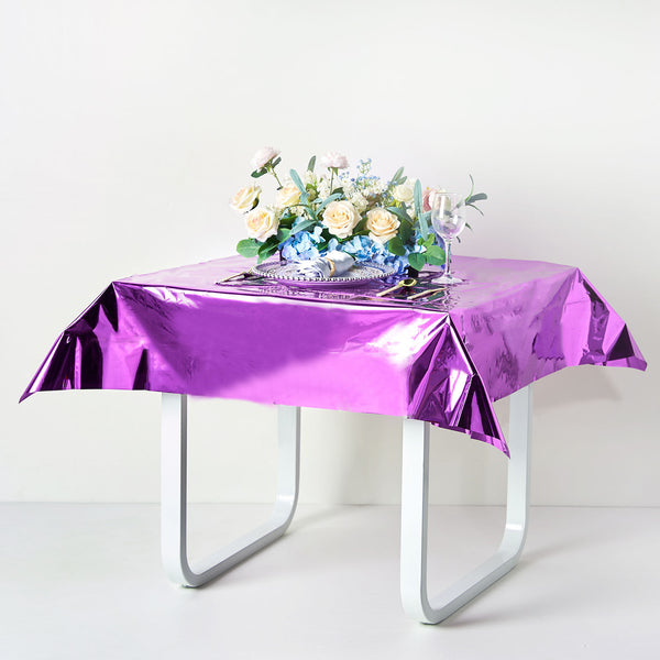 "50""x50"" Purple Metallic Foil Square Tablecloth, Disposable Table Cover"