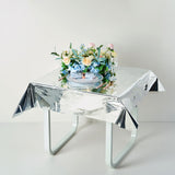 Silver Metallic Foil Square Tablecloth, Disposable Table Cover