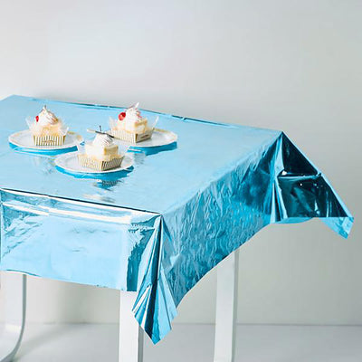 Turquoise Metallic Foil Square Tablecloth, Disposable Table Cover