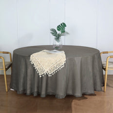 "108"" Charcoal Gray Linen Round Tablecloth 