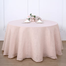 108 Inch | Linen Round Tablecloth, Slubby Textured Wrinkle Resistant Tablecloth - Blush | Rose Gold