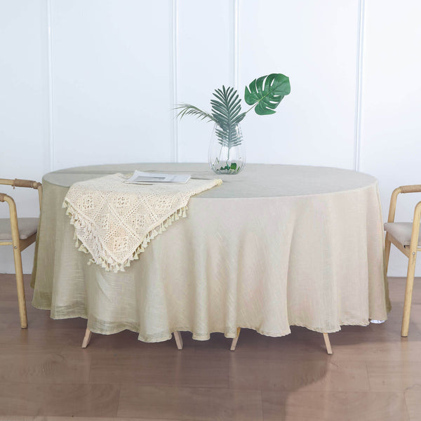 "108"" Beige Linen Round Tablecloth 
