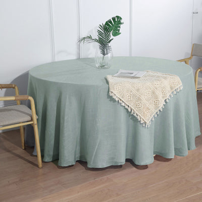 "108"" Dusty Blue Linen Round Tablecloth 