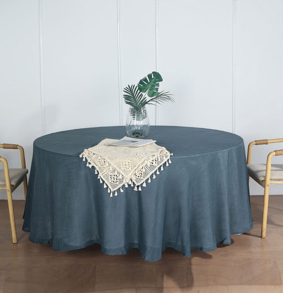 "108"" Blue Linen Round Tablecloth 
