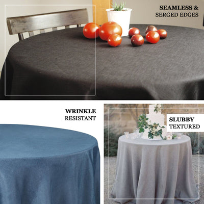 "108"" Taupe Linen Round Tablecloth 