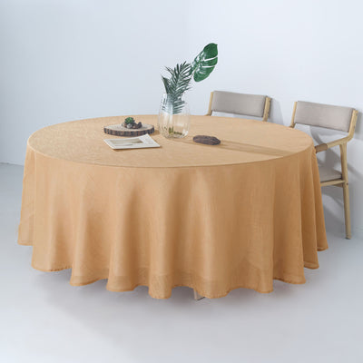 "108"" Natural Linen Round Tablecloth, Slubby Textured Wrinkle Resistant Tablecloth"